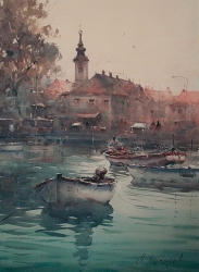 dusan-djuakric-danube-fisherman-zemun-watercolor-54x74-cm