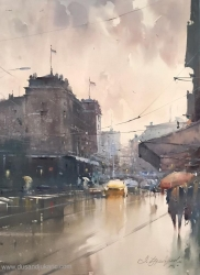 dusan-djukaric-april-rain-watercolor-54x74-cm