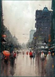 dusan-djukaric-at-beginning-of-street-prince-mihailo-watercolor-54x74-cm