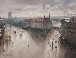 dusan-djukaric-between-balkan-and-moscow-watercolor-110x-86-cm