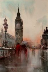 dusan-djukaric-big-ben-watercolor-36x54-cm