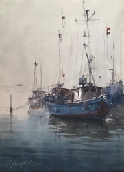 dusan-djukaric-blue-boats-watercoor-54x74-cm
