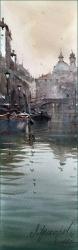 dusan-djukaric-boats-in-canal-veneice-17x55-cm