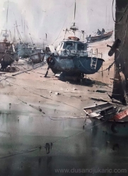 dusan-djukaric-boats-on-the-shore-watercolor-54x74-cm