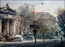 dusan-djukaric-boulevard-watercolor-27x37-cm-gallery