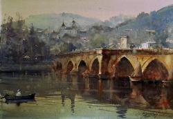 dusan-djukaric-bridqe-in-visegrad-watercolor-38x56-cm