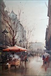dusan-djukaric-chestnut-seller-in-knez-watercolor-36x55-cm