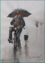 dusan-djukaric-cyclist-watercolor-36x53-cm