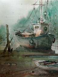 dusan-djukaric-fisherman-boats-watercolor-30x40-cm