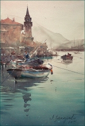 dusan-djukaric-fisherman-in-perast-watercolor-56x36-cm