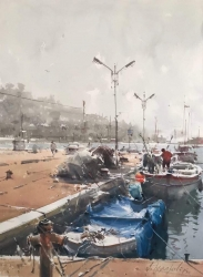 dusan-djukaric-fishing-harbour-in-kalamaria-watercolor-54x74-cm