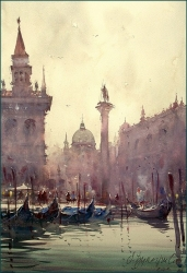dusan-djukaric-gondoles-in-venice-watercolor-36x55-cm