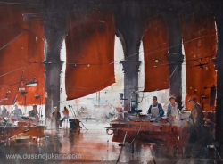 dusan-djukaric-market-in-venice-watercolor-74x54-cm