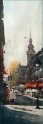dusan-djukaric-mornig-in-the-street-king-petar-watercolor-26x57-cm