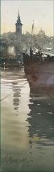 dusan-djukaric-morning-on-river-watercolor-17x55-cm