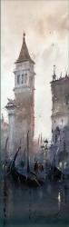 dusan-djukaric-morning-with-gondolas-watercolor-17x55-cm-gallery