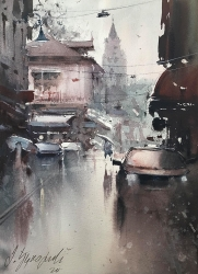 dusan-djukaric-one-rainy-day-zemun-watercolour-36x26cm