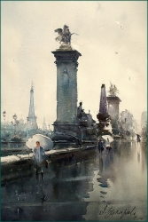dusan-djukaric-rainy-day-in-paris-watercolor-55x36-cm