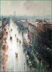 dusan-djukaric-rainy-day-on-terazije-watercolor-54x74-cm