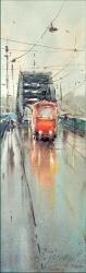 dusan-djukaric-red-tram-watercolor-17x55-cm-gallery