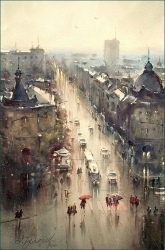 dusan-djukaric-resavska-street-rainy-day-watercolor-36x55-cm