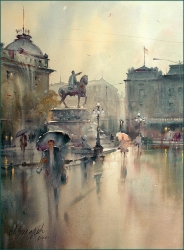 dusan-djukaric-sprin-rain-on-the-square-watercolor-54x74-cm