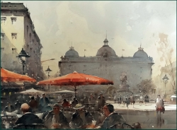 dusan-djukaric-stories-from-the-square-watercolor-54x74-cm