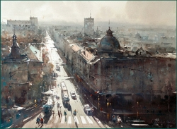 dusan-djukaric-sunny-day-in-resavska-watercolor-54x74-cm