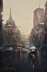 dusan-djukaric-trough-the-street-of-king-milan-watercolor-36x55-cm