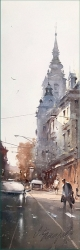 dusan-djukaric-two-domes-watercolor-17x56-cm