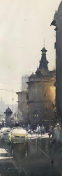 dusan-djukaric-view-from-masrikova-street-watercolor-26x74-cm