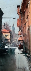 dusan-djukaric-view-on-gardos-watercolor-24x54-cm