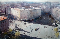 dusan-djukaric-view-on-terazije-watercolor-55x36-cm