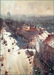 dusan-djukaric-view-over-terazije-watercolor-54x74-cm