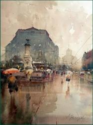 dusan-djukaric-walking-on-terazije-watercolor-66x50-cm