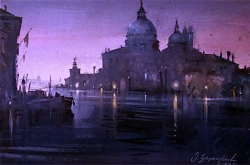 dusan-djukaric-watercolor-early-morning-in-venice-38x56-cm