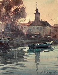 dusan-djukaric-watercolor-morning-in-danube-zemun-38x49-cm