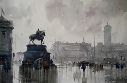 dusan-djukaric-watercolor-sguare-belgrade-38x56-cm