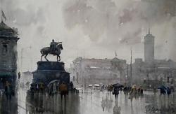 dusan-djukaric-watercolor-sguare-belgrade-38x56-cm