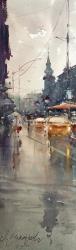 dusan-djukarictthrough-the-street-of-king-petar-watercolor-17x55-cm