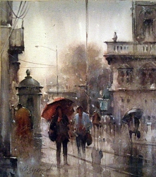 dusan-djukaricwatercolor-rainy-day-in-belgrade-32x37-cm