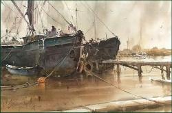 dusan-djuukari-old-boats-watercolor-35x56-cm