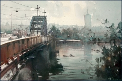 dusan-view-on-sava-bridge-watercolor-365x55-cm