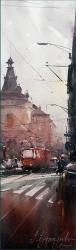 dusann-djukaric-red-tram-skc-watercolor-17x55-cm