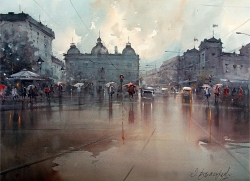 rainy-day-in-square-watercolor-54x74-cm