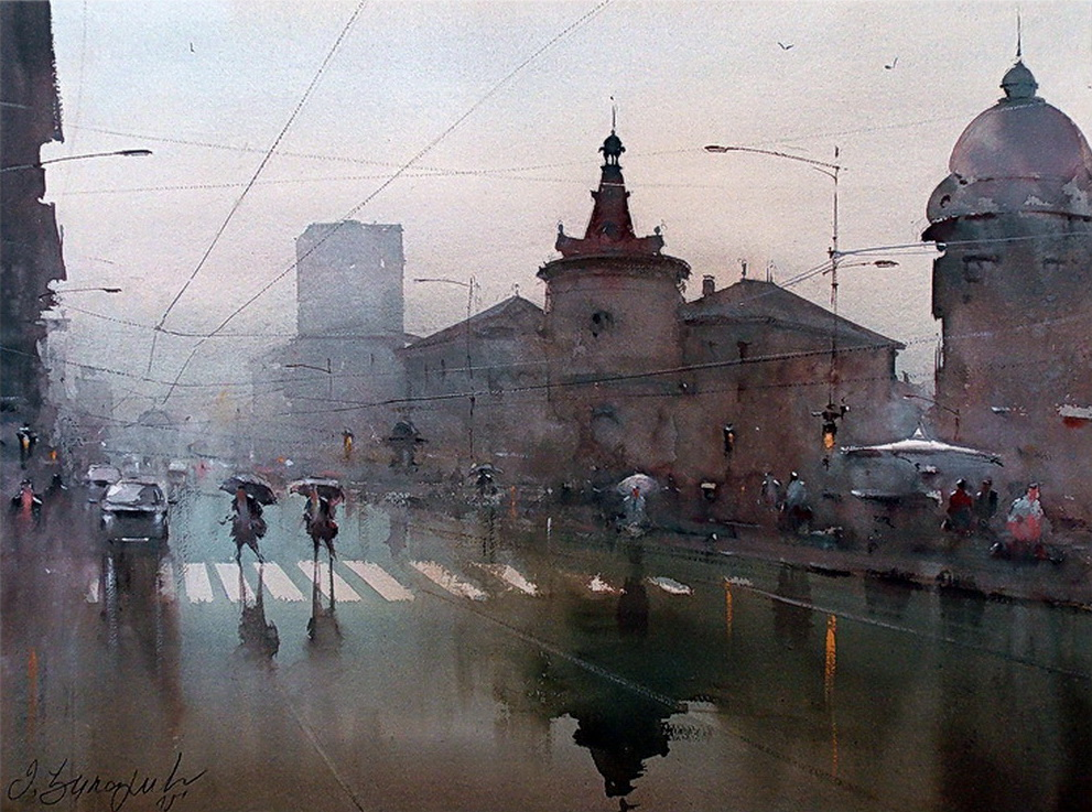 rainy day watercolor 54x74 cm