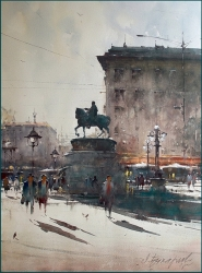 dusan-djukaric-a-day-on-the-square-watercolor-54x74-cm