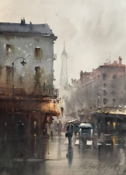 dusan-djukaric-after-rain-in-paris-watercolor-26x36-cm