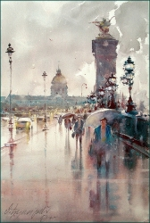 dusan-djukaric-after-rain-paris-watercolor-36x55-cm