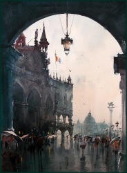 dusan-djukaric-after-rainy-day-in-venice-watercolor-54x74-cm